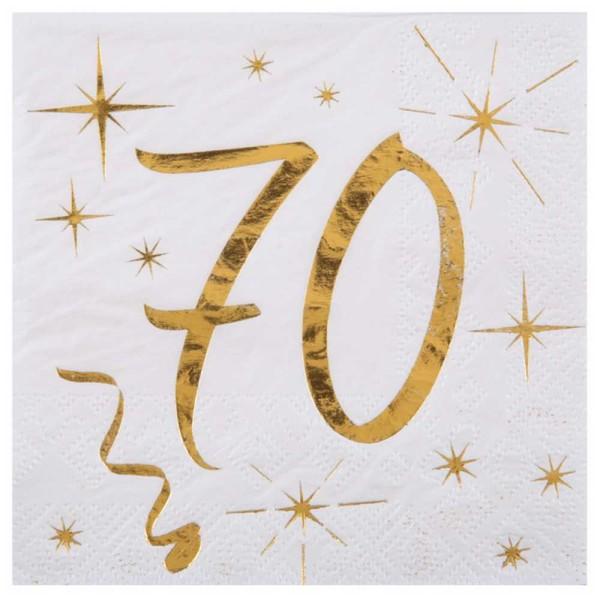 100 Serviettes cocktail anniversaire 70 ans blanc et or - Photo n°1