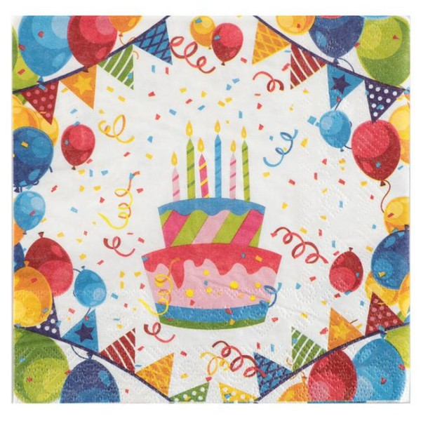 100 Serviettes en papier anniversaire Arlequin - Photo n°1