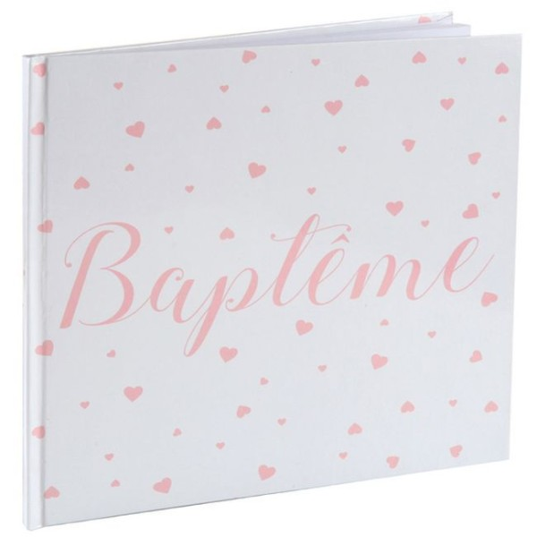 Livre d'or Baptême fille blanc et corail - Photo n°1