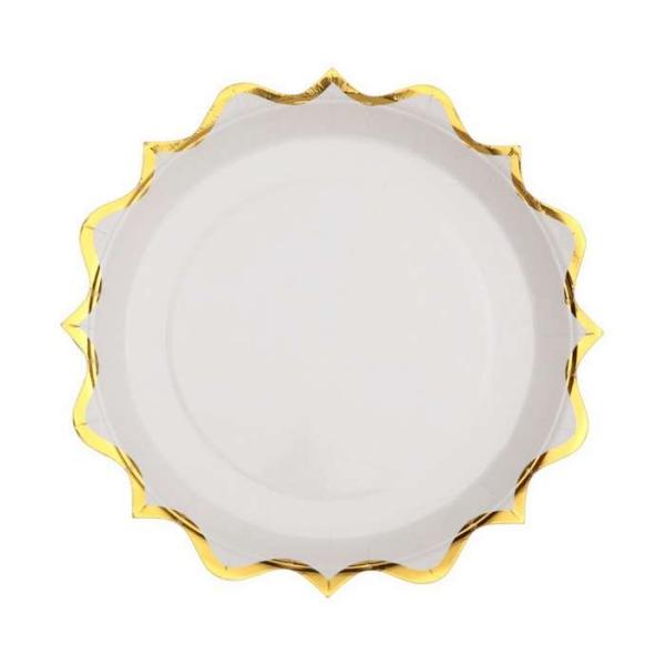 10 Assiettes à dessert rondes festonnées blanc et or métallisé - Photo n°1