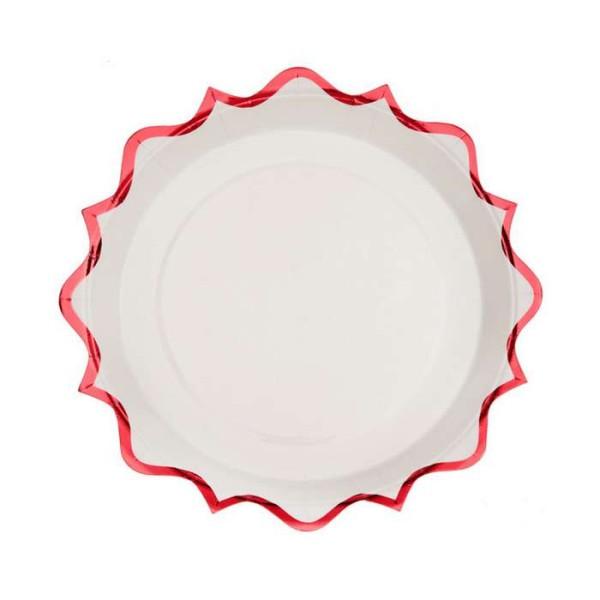 10 Assiettes à dessert rondes festonnées blanc et rouge métallisé - Photo n°1