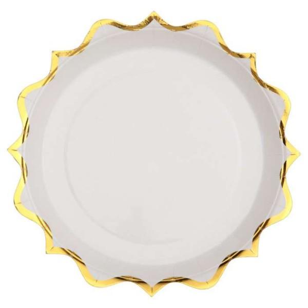 10 Assiettes rondes festonnées blanc et or métallisé - Photo n°1