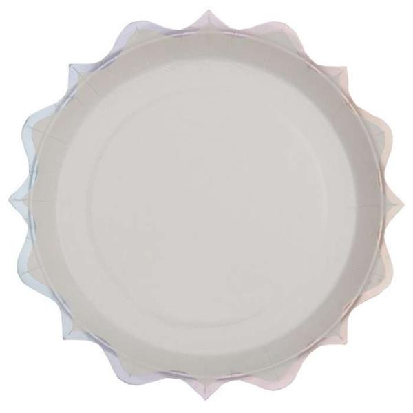 10 Assiettes rondes festonnées blanc et irisé argent - Photo n°1