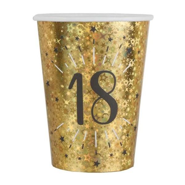 20 Gobelets anniversaire 18 ans noir et or métallisé - Photo n°1