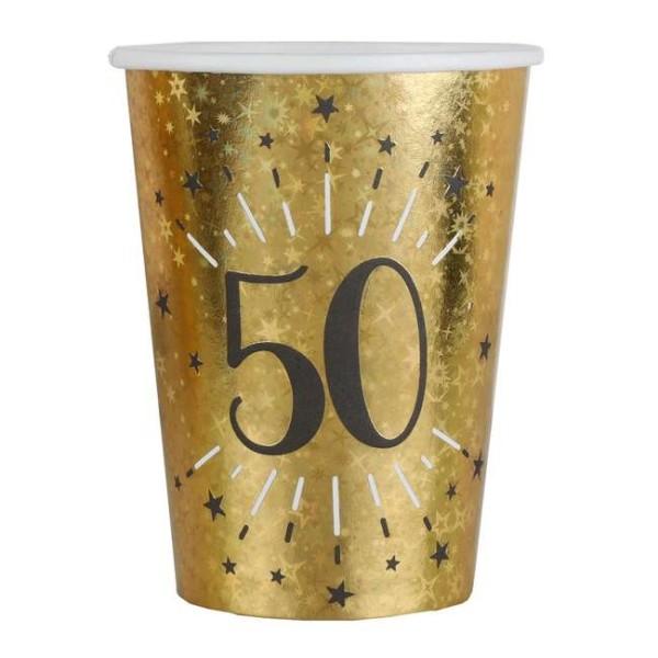 20 Gobelets anniversaire 50 ans noir et or métallisé - Photo n°1