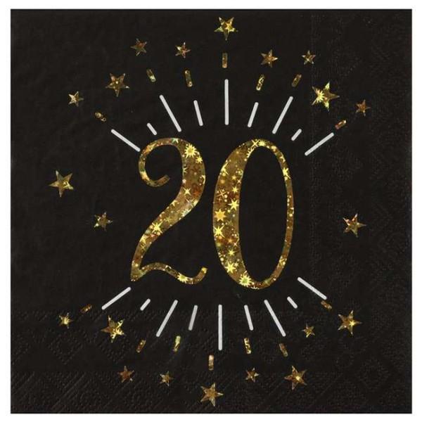 100 Serviettes anniversaire 20 ans noir et or - Photo n°1