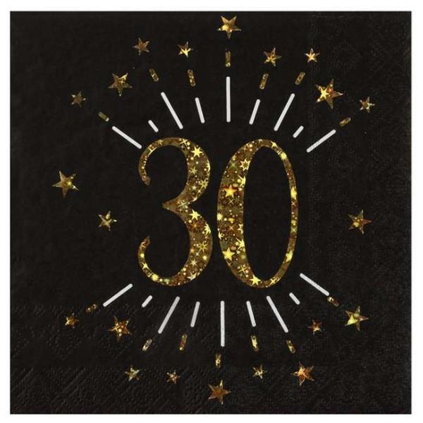 100 Serviettes anniversaire 30 ans noir et or - Photo n°1