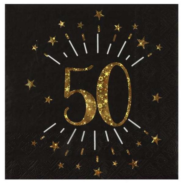 100 Serviettes anniversaire 50 ans noir et or - Photo n°1