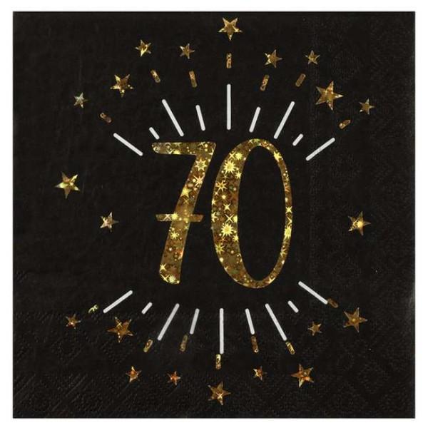 100 Serviettes anniversaire 70 ans noir et or - Photo n°1