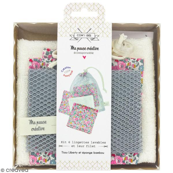 Kit couture - Lingettes lavables et filet - Tissu liberty - 7 pcs - Photo n°1