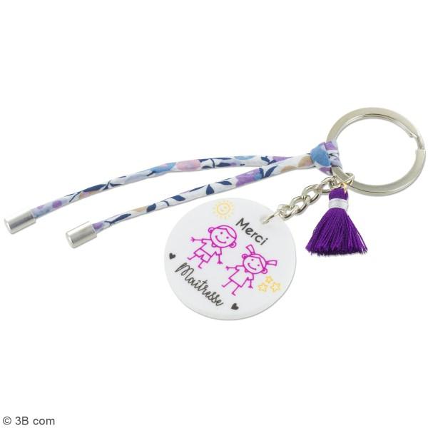 Kit DIY porte-clés à message - Merci Maîtresse - Cordon Liberty et Violet - 1 Pce - Photo n°2