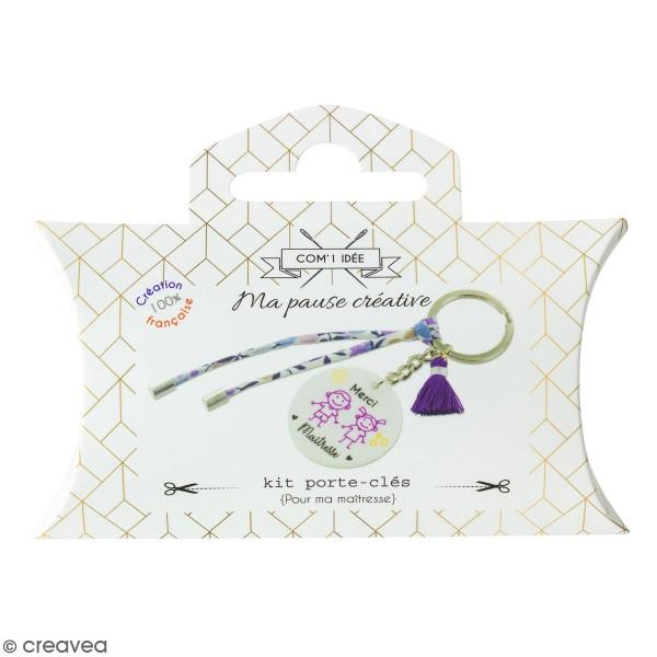 Kit DIY porte-clés à message - Merci Maîtresse - Cordon Liberty et Violet - 1 Pce - Photo n°1