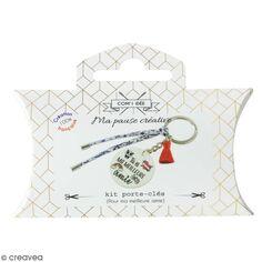 Kit DIY porte-clés à message - Meilleure amie - Cordon Liberty et Rouge - 1 Pce