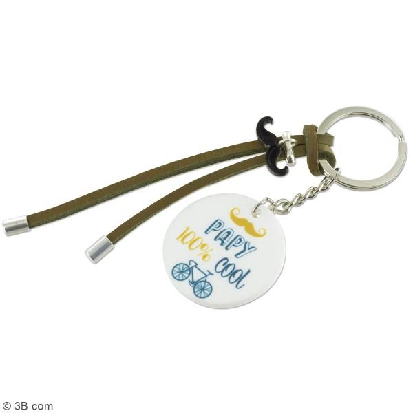 Kit DIY porte-clés à message - Papy - Cordon Marron - 1 Pce - Photo n°2