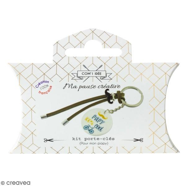 Kit DIY porte-clés à message - Papy - Cordon Marron - 1 Pce - Photo n°1