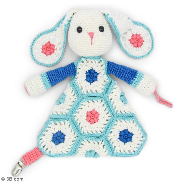 Kit crochet - Attache tétine Lapin - 22 cm - Photo n°2