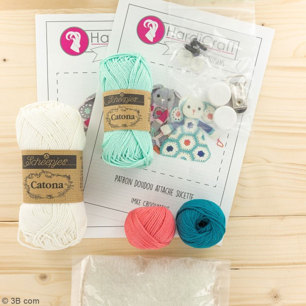 Kit crochet - Attache tétine Lapin - 22 cm - Photo n°3