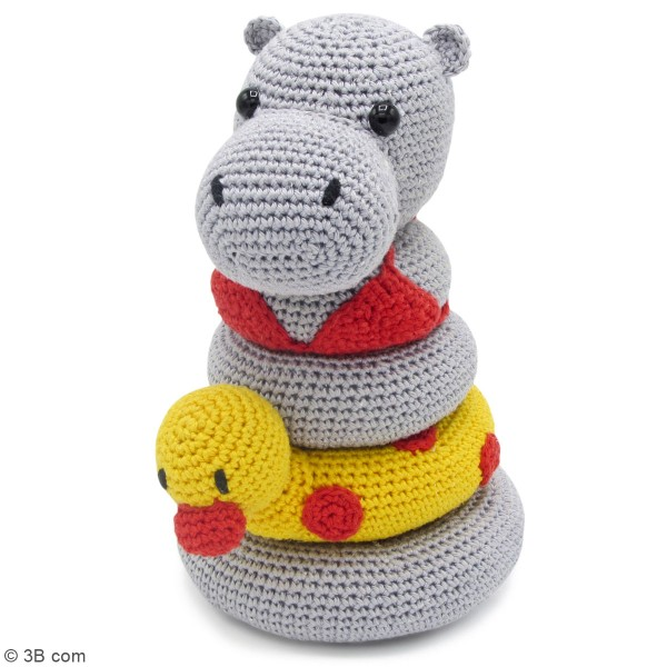 Kit crochet - Tour d'empilage en crochet Helga l'Hippopotame - 20 cm - Photo n°2