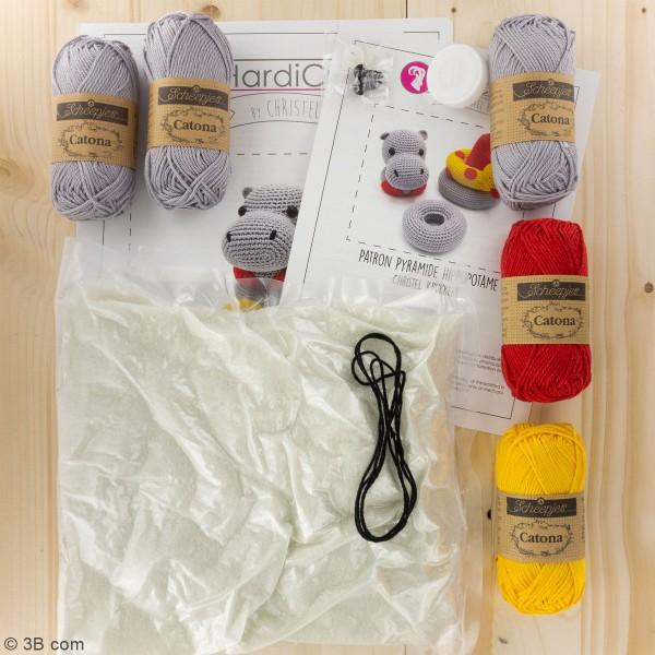 Kit crochet - Tour d'empilage en crochet Helga l'Hippopotame - 20 cm - Photo n°3