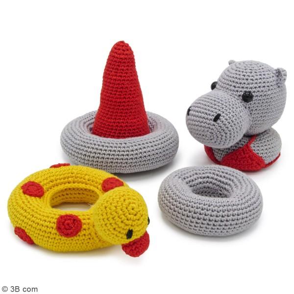 Kit crochet - Tour d'empilage en crochet Helga l'Hippopotame - 20 cm - Photo n°4