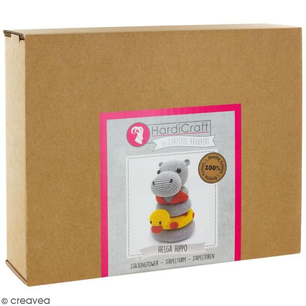 Kit crochet - Tour d'empilage en crochet Helga l'Hippopotame - 20 cm - Photo n°1
