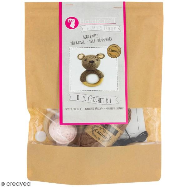Kit crochet - Hochet Ours - 12 cm - Photo n°1