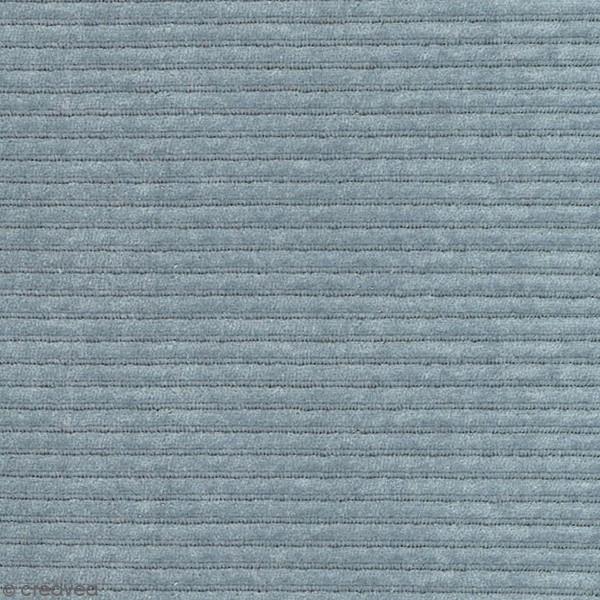 Tissu Velours Côtelé - Bleu Gris - Par 10 cm (sur mesure) - Photo n°1