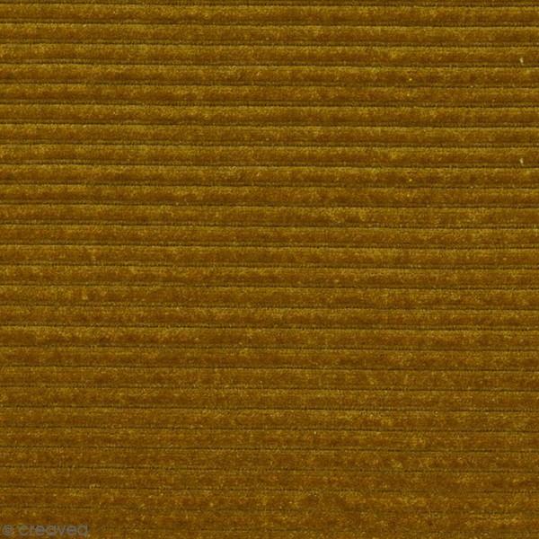 Tissu Velours Côtelé - Jaune Olive - Par 10 cm (sur mesure) - Photo n°1