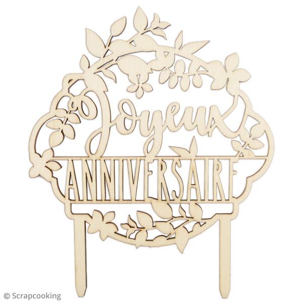 Cake topper en bois - Joyeux anniversaire - 12,9 x 10,2 cm - Photo n°2