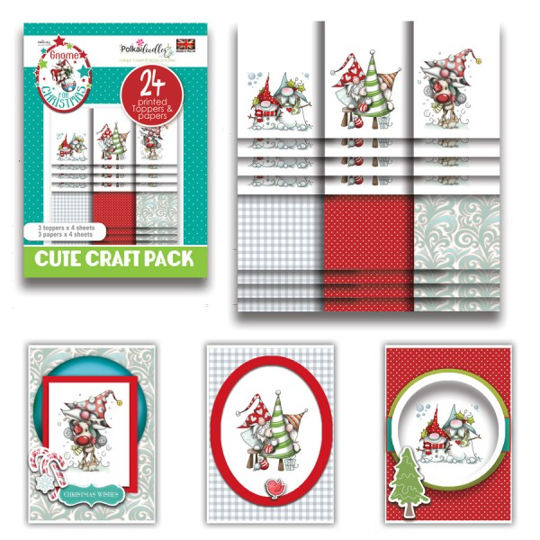 Kit cartes Polkadoodles Winnie Gnome for Christmas - 24 feuilles - A6 - Photo n°1