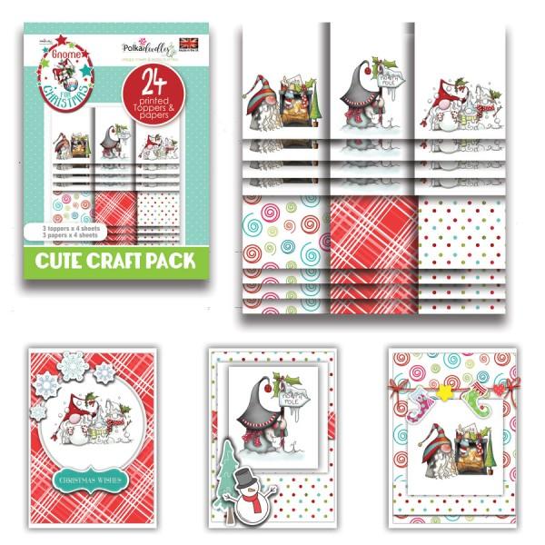 Kit cartes Polkadoodles Gnome Fun Christmas - 24 feuilles - A6 - Photo n°1