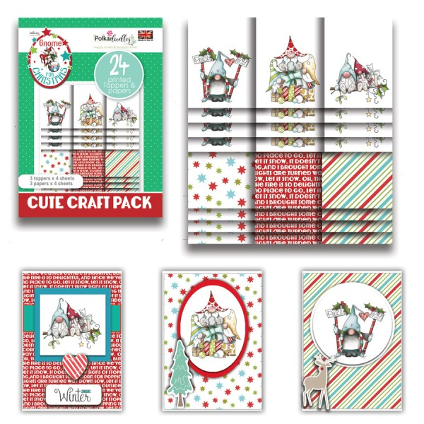 Kit cartes Polkadoodles Gnome Together Christmas - 24 feuilles - A6 - Photo n°1