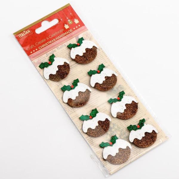 .Autocollant Paillettes Artisanal 3D en Forme de Christmas Pudding x 8 - Scrapbooking Déco Noël - Photo n°2