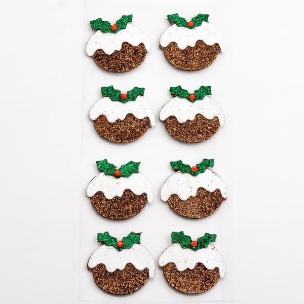 .Autocollant Paillettes Artisanal 3D en Forme de Christmas Pudding x 8 - Scrapbooking Déco Noël - Photo n°1