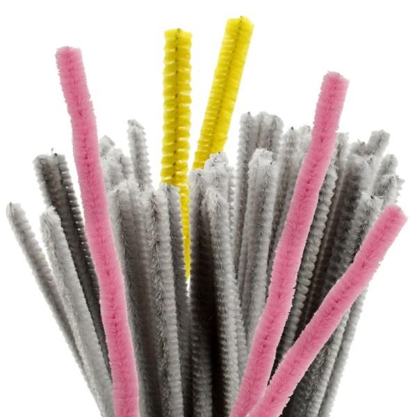 Fil chenille - Différents coloris - 6 mm x 30 cm - 50 pcs - Photo n°1