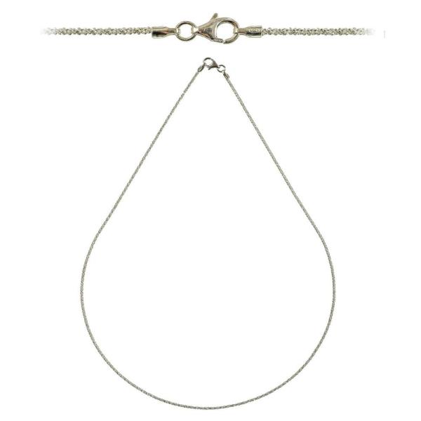 Chaine maille criss cross fermoir mousqueton en argent - Longueur 45 cm - Photo n°2