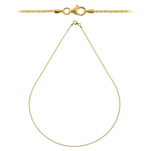 Chaine maille criss cross fermoir mousqueton en argent plaqué or jaune - Longueur 45 cm - Photo n°1