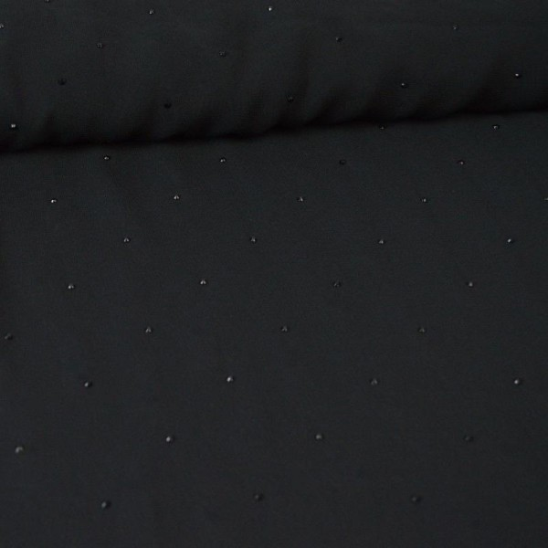 Tissu Mousseline fluide Noir - gouttes noires - Photo n°2