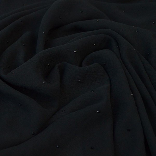 Tissu Mousseline fluide Noir - gouttes noires - Photo n°3