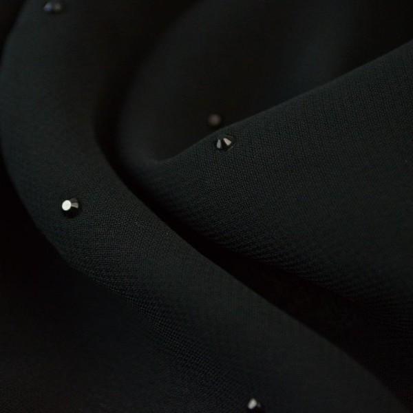 Tissu Mousseline fluide Noir - gouttes noires - Photo n°1