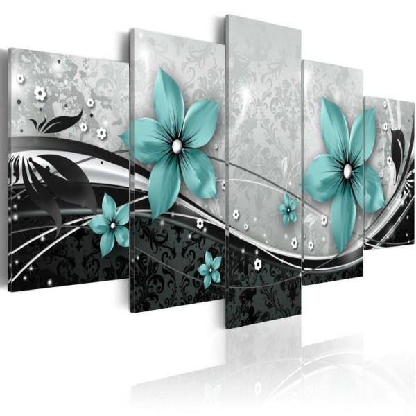 Tableau - Turquoise flower of night .Taille : 200x100 - Photo n°1