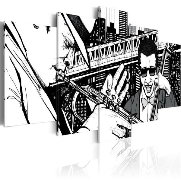 Tableau - Concert de jazz sur fond de gratte-ciels de New York - 5 pièces .Taille : 100x50 - Photo n°1
