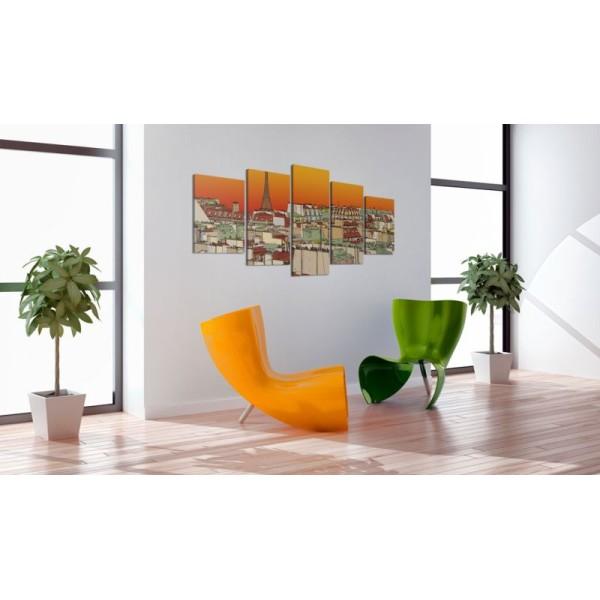 Tableau - Ciel parisien en couleur de l'orange .Taille : 100x50 - Photo n°1