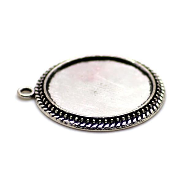 2 x Pendentif Rond pour Cabochon 25mm argent antique - Photo n°1