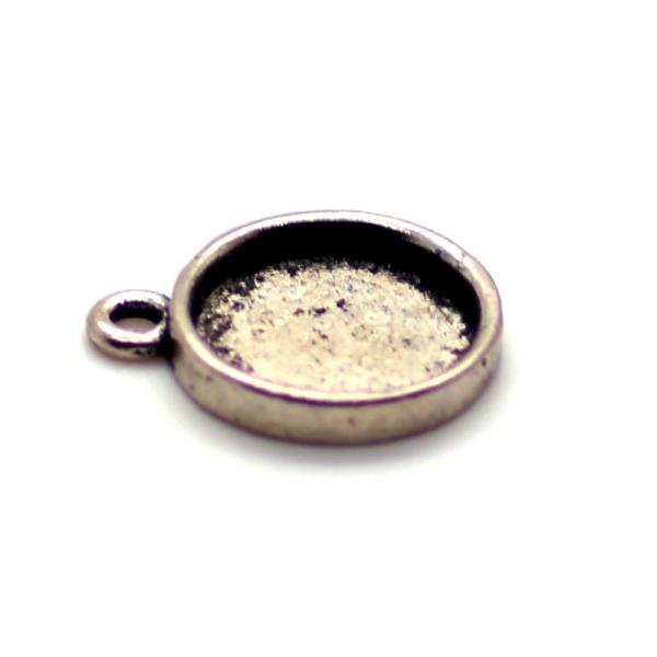 5 x Pendentif Rond pour Cabochon 12mm argent antique - Photo n°1