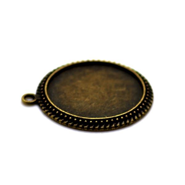 2 x Pendentif Rond pour Cabochon 25mm bronze antique - Photo n°1