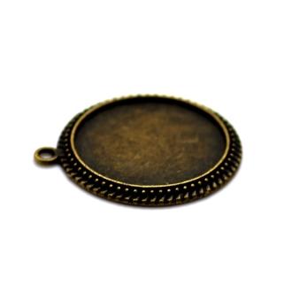 2 x Pendentif Rond pour Cabochon 25mm bronze antique