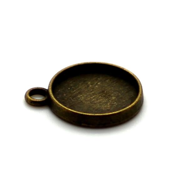 5 x Pendentif Rond pour Cabochon 12mm bronze antique - Photo n°1