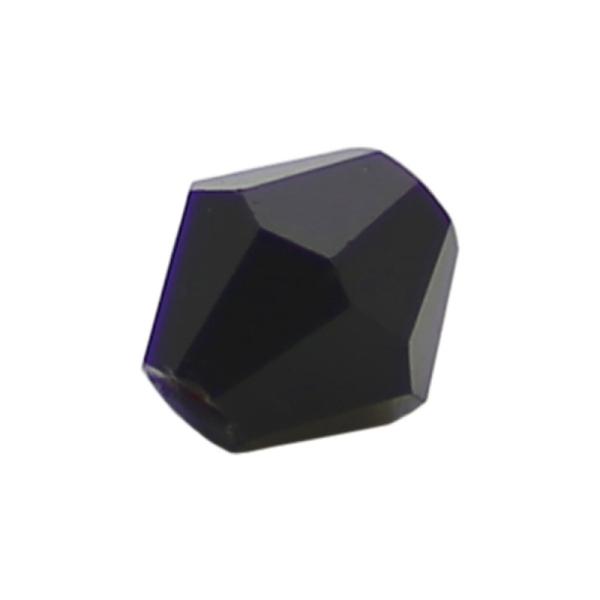100 Perles en verre Bicône 4mm noir transparent - Photo n°1