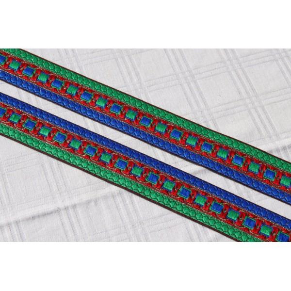 Morceau de  0.8m de galon de 35 mm de large, ruban bleu, rouge, vert - Photo n°1